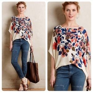 Anthropologie Floral Poncho Sweater